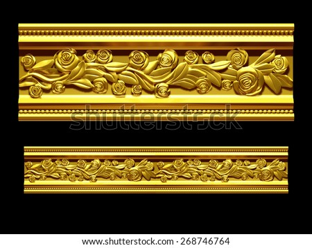 "golden ornamental segment, ""rose"", straight version for frieze, frame or border - stock photo"