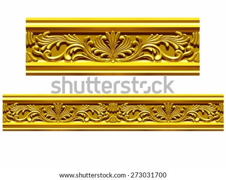 """golden ornamental segment, """"splash"""", straight version for frieze, frame or border - stock photo"""