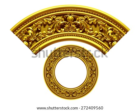 "golden ornamental segment, ""upside"", round version for corner or circle - stock photo"