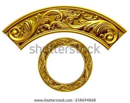 "golden ornamental segment, ""wave"", round version for corner or circle  - stock photo"