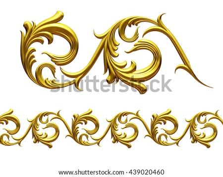 "golden ornamental segment, "" whirl "", straight version for frieze or border. 3d illustration - stock photo"