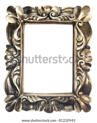 Golden Ornate Frame Isolated on White with a Clipping Path. - stock photo