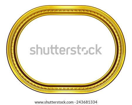 golden oval frame - stock photo