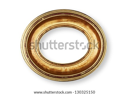Golden oval frame on white with shadow