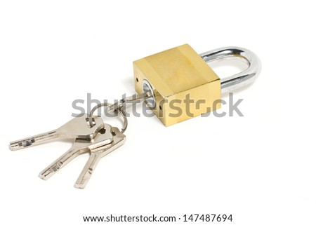 Golden padlock and key isolated on white.