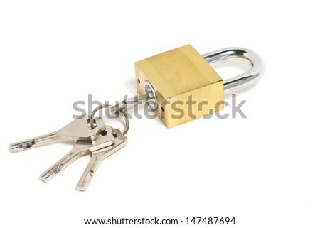 Golden padlock and key isolated on white. - stock photo