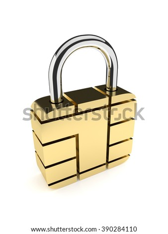 golden padlock from card microchip isolated on white background