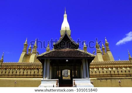 Golden pagada in Wat Pha-That Luang, Vientiane, Laos. - stock photo