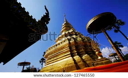 Golden Pagoda at Wat Phra That Sri Chom Thong, Chiangmai, Thailand. - stock photo
