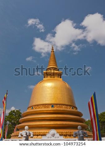 Golden pagoda in Dambulla, Sri Lanka - stock photo