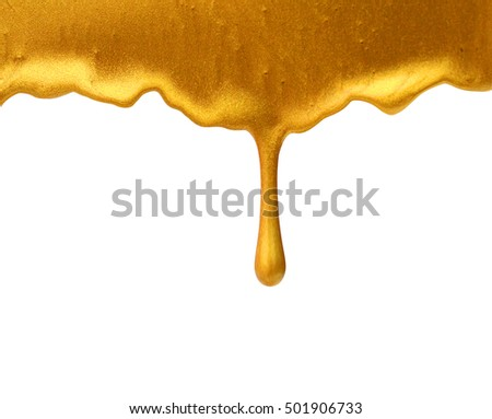 Golden paint isolated on white background