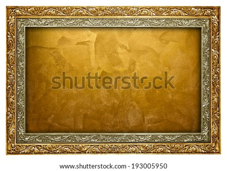 golden paint with frame - stock photo