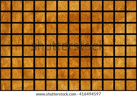 Golden painted squares on black background. Golden acryl texture. Painted geometric pattern. Golden shining texture. Gold paint.