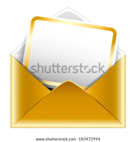 Golden paper envelope with a postcard on white background. Holiday vip invitation. Isolated. Illustration.  - stock photo