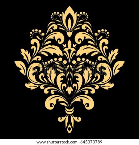 Golden Pattern On A Black Background Damask Graphic Ornament Floral Design Element