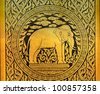 Golden pattern on the temple door of Thailand - stock photo