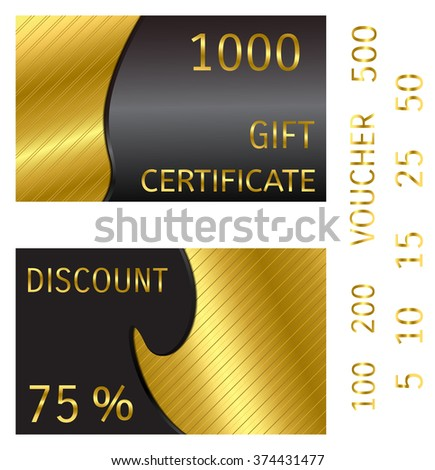 Golden patterned background with a black insert. For voucher, certificate, discount, card, coupon.