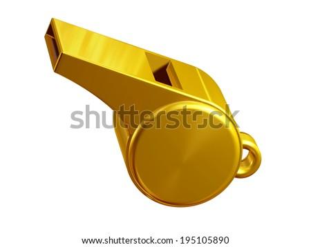 golden pea whistle  - stock photo