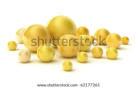 Golden pearls on a white. Hight quality 3D image