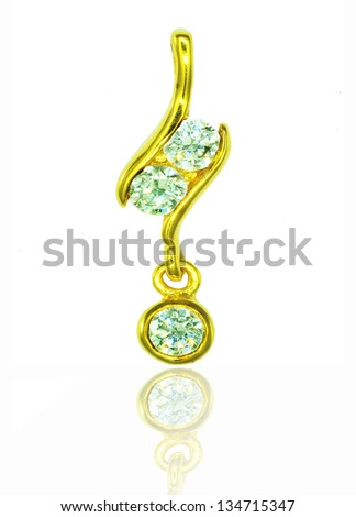 Golden pendant with diamond isolated on the white background