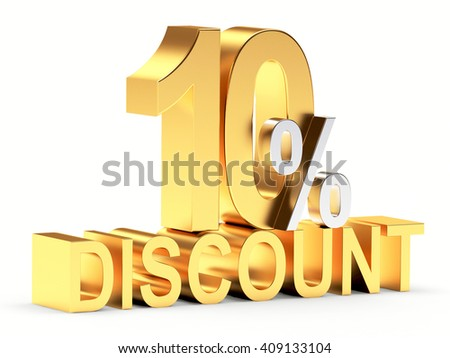 Golden 10 PERCENT and word DISCOUNT isolated on white background. 3d illustration - stock photo