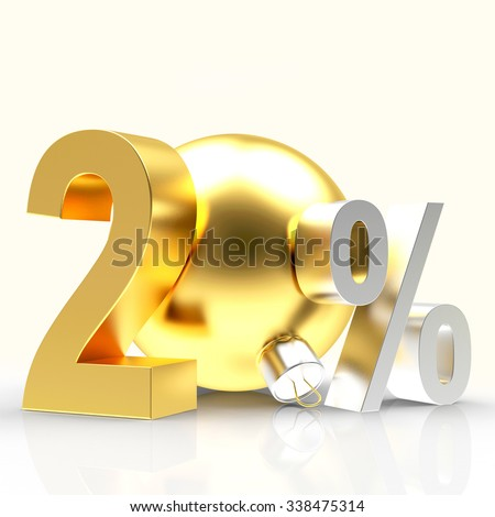 Golden 20 percent discount with christmas ball isolated on white background