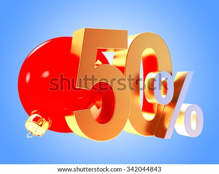 Golden 50 percent discount with red christmas ball on blue background