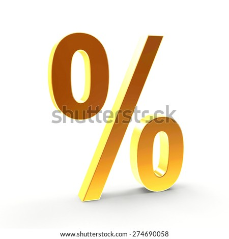 Golden percent sign isolated on a white background.  - stock photo