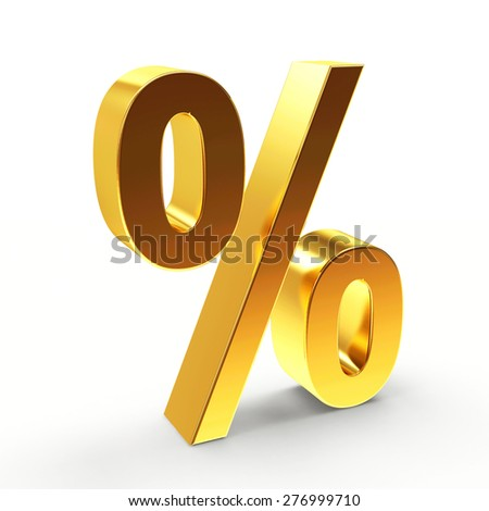 Golden percent sign isolated on a white background