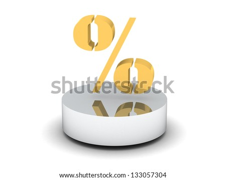 golden percentage symbol - stock photo