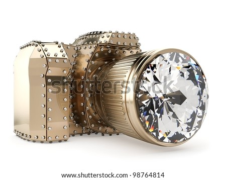 golden photo camera with diamonds isolated on white - stock photo