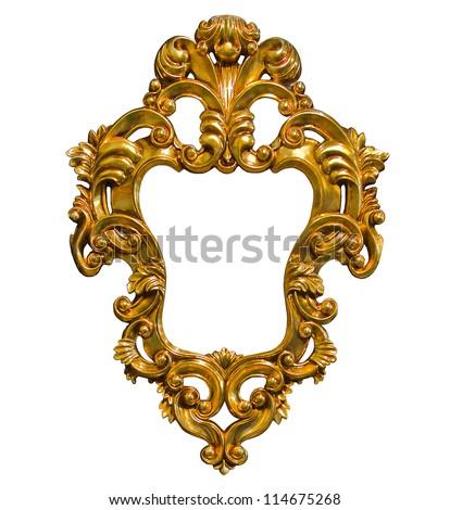 golden photo image frame isolated on white background - stock photo