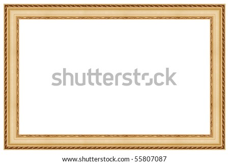 Golden picture frame. Isolated - stock photo