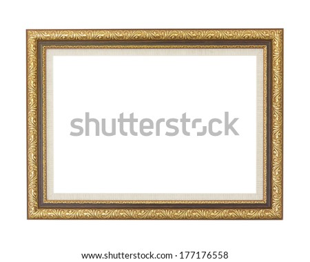 Golden picture frame isolated on white background. - stock photo