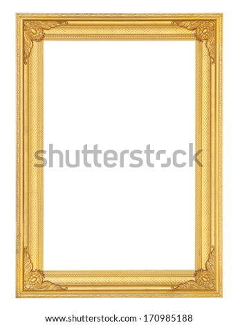 golden picture frame isolated on white background (with clipping path) - stock photo