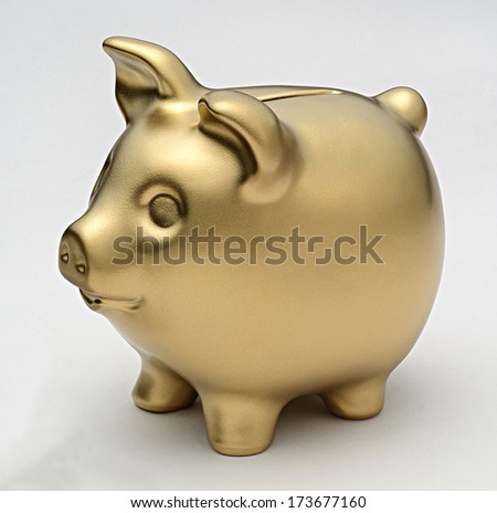 golden piggy bank - stock photo