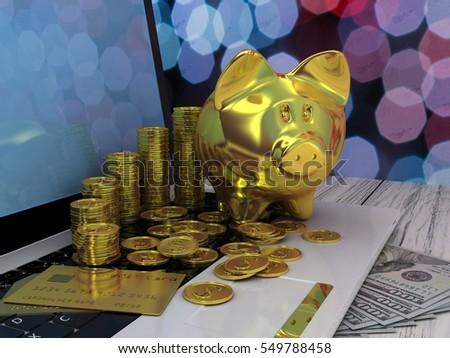 Golden piggy bank and laptop. 3D illustration