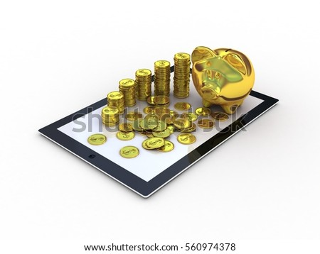 Golden piggy bank and tablet. 3D illustration