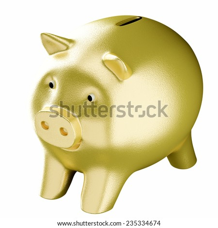 golden piggy bank isolated on white background - stock photo