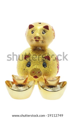 Golden Piggy Banks on Isolated White Background