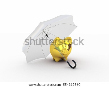 Golden piggy under umbrella. 3D illustration