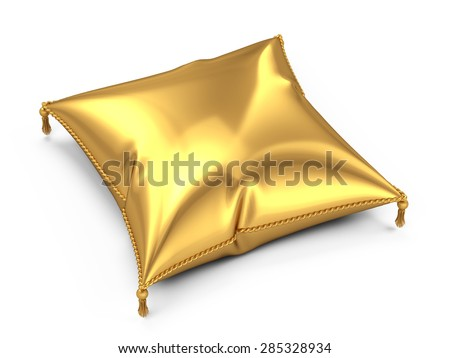 Golden pillow isolated on white background - stock photo