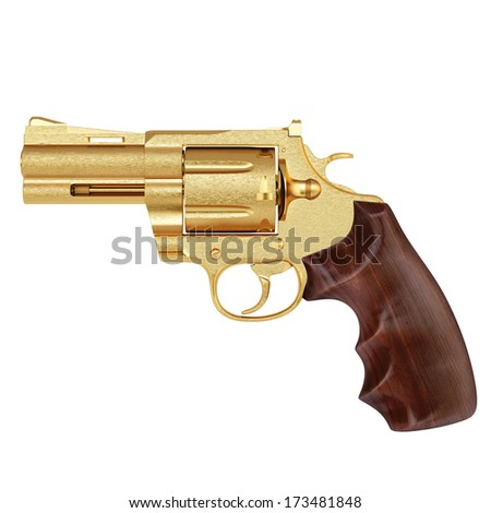golden pistol. isolated on white. - stock photo