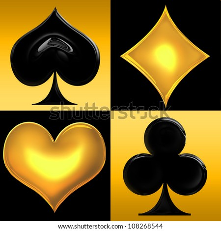 Golden Playing card suits in frames