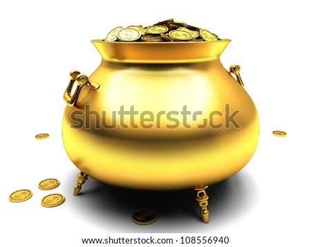 Golden pot full of gold coins with dollar sign. - stock photo