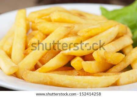Golden potatoes fries in the plate closeup - stock photo