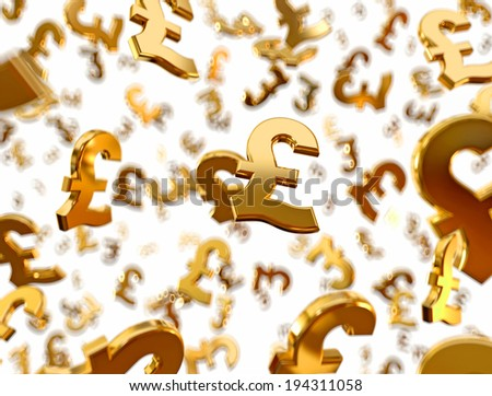 Golden pound sterling signs falling on the white background. - stock photo