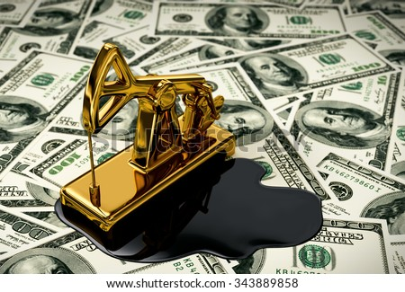 Golden Pumpjack And Spilled Oil On The Money. 3D Scene. - stock photo