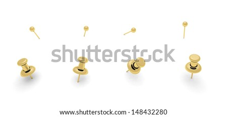 Golden push pins for your design - stock photo