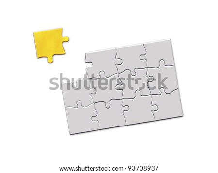 golden puzzle piece floating above the last open space of a white puzzle pattern